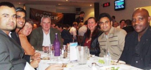 Enjoying the night: L-R Saeed Akram, Muhammad Maaz, Vicki and Richard Cooney, Victoria Thorneycroft, Umar Farooq and coach Vic Hodge.