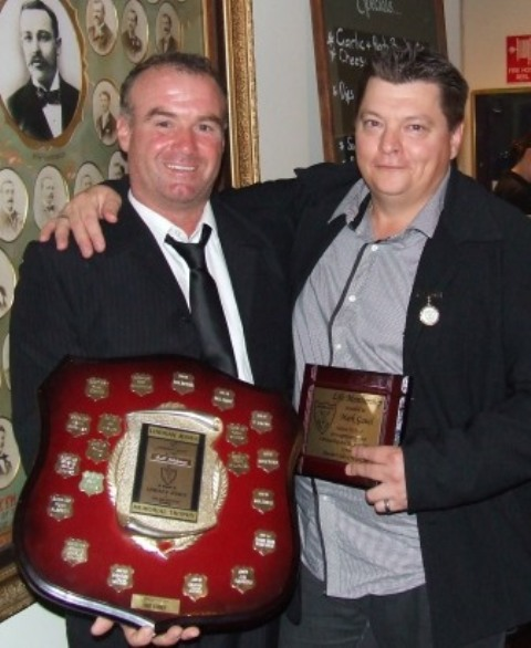 Two Great Clubmen: Sean O'Kane (left) with his Lindsay Jones Best Clubman award, and Mark Gauci with his Life Membership plaque.