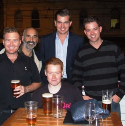 What's with the pints? This man from England is trying to teach us Aussies to switch from pots to pints - with some success. L-R Peter O'Kane, Joe Ansaldo, Kris Garland, Jesse Nankivell-Sandor and Matt Thomas.