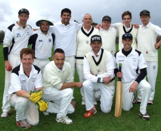 The Valley team which braved the elements for the 2014 season opener. Back: L-R Ben Thomas, Gaurav Malhotra, Kern Kapoor, Neil King, Mark Gauci, Anthony Cafari and Craig Pridham. Front: Bede Gannon, Sam Carbone, Matt Thomas and skipper Michael Ozbun.