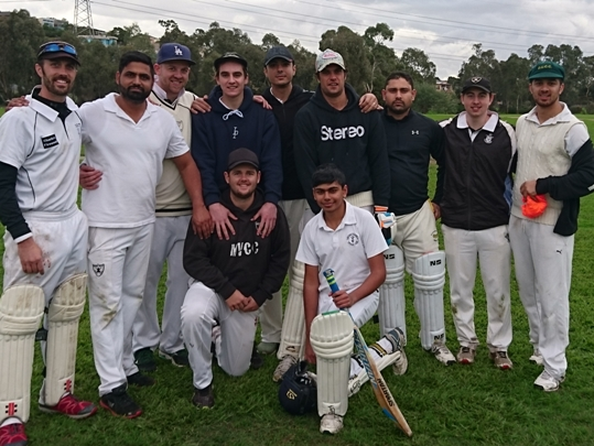 Our Moonee Valley Black team for the Round 2 win. L-R: Back - Michael Ozbun, Jatinder Singh, Matt Thomas, Anthony Cafari, Junaid Niazi, Jesse Felle, Kunal Balhara, Matt Esmore and Nitin Madan. Front - Chris Pollock, Akshat Sehgal.