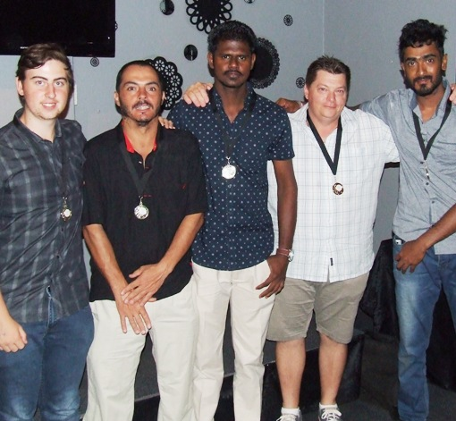 "Our Most Valuable Players: L-R Matthew Esmore (4ths), Danny Terzini (5ths), Nadeera ""Tuffy"" Thuppahi (joint 1sts), Mark Gauci (2nds and 3rds) and Chanaka Silva (joint 1sts)."