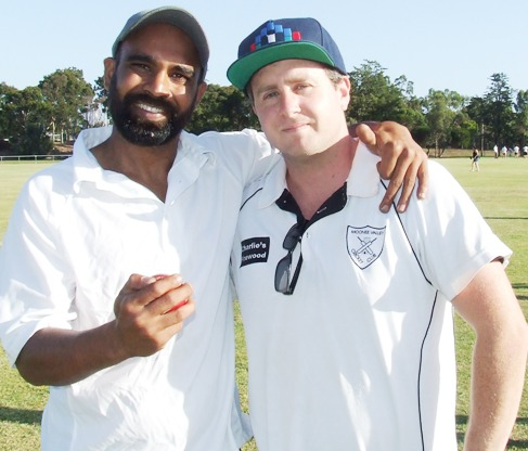 Hat-trick taker Sunny Singh (left) with Thirds captain Ed Rayner and his hat-trick ball.
