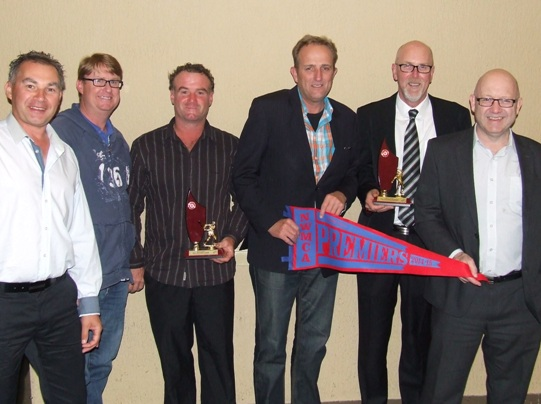The Valley Sixths with their premiership flag at the North West presentation night: L-R Dean Jukic, Dean Lawson, Sean O'Kane, Brett Curran, Kevin Gardiner and Paul Hobbs.