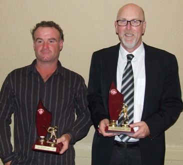 Batting maestro Sean O'Kane (left) and bowling supremo Kevin Gardiner with their competition trophies.