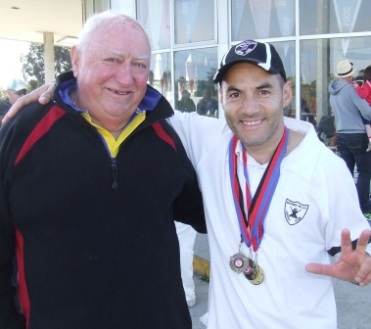 Sam Carbone has now won three Ralph Barron Shield medallions - in 2009/10 when playing for Buckley Park AGAINST Moonee Valley, and with us in 2013/14 and 2014/15. Sam's shown here with North West legend Ralph Barron, who presented the medallions on each occasion.