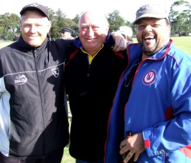 Three rascals and absolute legends of the North West. Past Moonee Valley presidents and on-field protagonists Darren Nagle (left) and Sandro Capocchi flank Ralph Barron, who had many a tussle with us at Pascoe Vale Centrals.