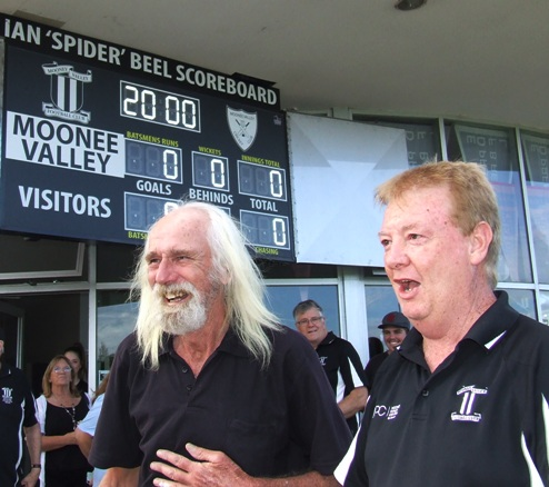 Ian 'Spider' Beel (left) was caught unawares when MVFC President Steve Radford unveiled the new scoreboard in his honor.