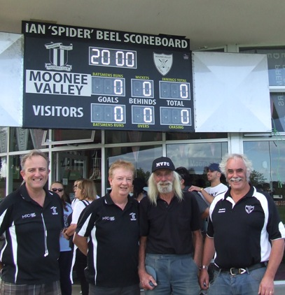 "The numbers don't lie: Not on the Ian ""Spider"" Beel Scoreboard. Enjoying the occasion were (L-R) MVFC Secretary Brett Curran and MVFC President Steve Radford (both also Moonee Valley cricketers), guest of honor Ian Beel and MVCC President Charlie Walker."