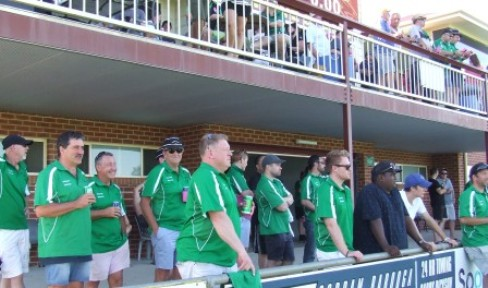 The Valley boys took up residence under the magnificent Barooga stand - and there were plenty of Valley supporters up on the balcony as well.
