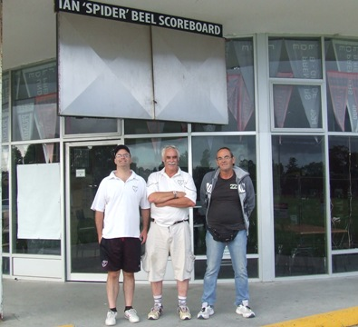 "The Ian ""Spider"" Beel scoreboard will be relocated when the pavilion goes down. Checking it out here are L-R Michael Cumbo, Charlie Walker and Pat Taylor."