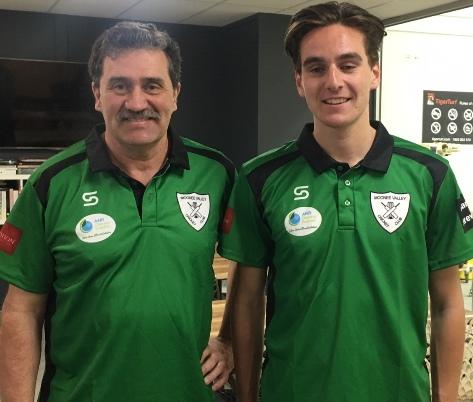 Coach Tony Gleeson (left) with returning player Anthony Cafari.