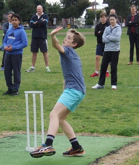 Dylan Pleban shows his bowling skills.