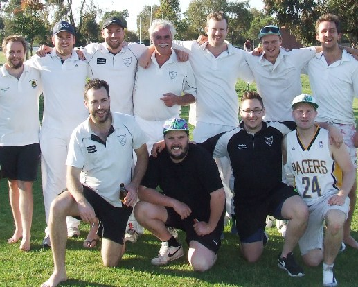 Liam Shaw's headed to distant shores. He's pictured here with his teammates in his match before his farwell function. L-R: Back - Elliott Hughes, Sam Gunther, Liam Shaw, Charlie Walker, Justin Trowell, Dylan Jamieson and skipper Paddy Shelton. Front - Liam Farrell, Shane Chalmers, Nick Brelis and Dominic Rettino.