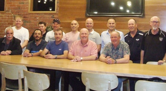 Life Members gather at the Moonee Ponds Club. L-R: Back - Darren Nagle, Mark Gauci, Dean Jukic, John Talone, Michael Cumbo, Bill Nagel, Ian Denny and Kevin Gardiner. Front - Charlie Walker, Danny Terzini, Jim Polonidis, Warwick Nolan and Greg Peters.