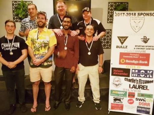 Our MVP winners: L-R Matt Esmore (3rds), Jim Polonidis (2nds), Liam Farrell (6ths), Simon Thornton (4ths), Chanaka Silva (1sts), Mark Gauci (7ths) and Danny Terzini (5ths).