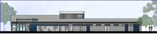 The redesigned pavilion plan - the front door - on the north side opening into the carpark.
