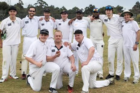 The Sevenths team for Peter Smith's 200th game. L-R. Back - Nigel Cowan, Michael Ozbun, Ben Thomas, Matt Esmore, Shiwantha Kumara, Dishnaka Manoj, Stephen Esmore, Jim Polonidis. Front - Lachlan Smith, Peter Smith, Geoff Smith.