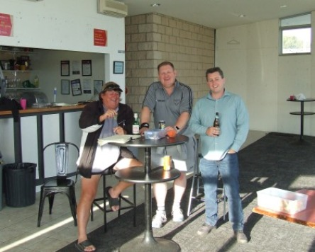 The absolute last beer in the old clubrooms: Vacating are L-R Shane McDonald, Simon Thornton and Ed Rayner.