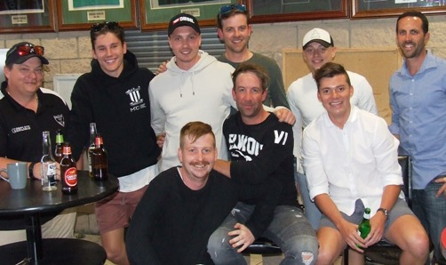 Welcoming back the Prodigal son. L-R Mark Gauci, Jack Newman, Freddie Priestley, Matt Thomas, Benjamin Pearson and Michael Ozbun. Front - Bede Gannon, Ben Thomas and Daniel Comande.