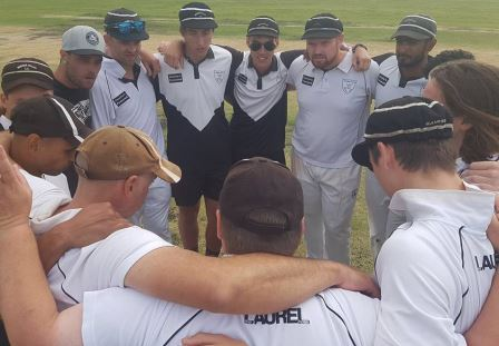 Make sure we stay focused: The huddle. Clockwise from 9 o'clock - Raj Aiyappan, Dan Comande, Jesse Felle, Matt Thomas, Stephen Esmore, Nigel Cowan, Nate Wolland, Chanaka Silva, Anthony Cafari, Jack Newman, Mark Gauci and Lou Raffaele.