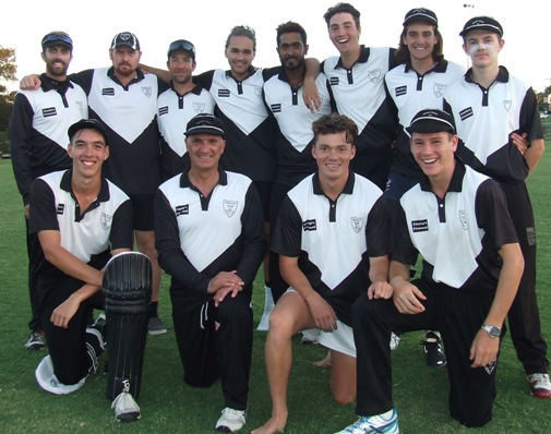 Our T20 Grand Final team. L-R:  Back - Michael Ozbun, Nate Wolland, Ben Thomas, Luke Brock, Chanaka Silva, Stephen Esmore, Anthony Cafari and Charles Bibby. Front - Nigel Cowan, Lou Raffaele, Daniel Comande and Jack Newman.