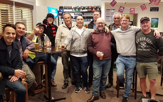 The Premiership team get-together: L-R Sam Carbone, Dean Jukic, Mark Gauci, Kevin Gardiner, Brett Curran, John Talone, Norm Wright, Paul Hobbs, President Charlie Walker, Dean Lawson and Sean O'Kane.