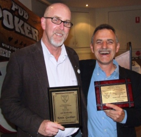 Our highest honors: Kevin Gardiner (left) with his Life Membership citation and Phill King with his Lindsay Jones best clubman award.