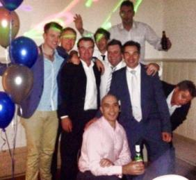 Moonee Valley boys celebrate at James Holt's wedding. L-R Matt Thomas, Darren Nagle, Sean O'Kane, Ben Thomas, John Talone (front), James Holt, Jim McKenzie (back), Dean Jukic and Mark Gauci.