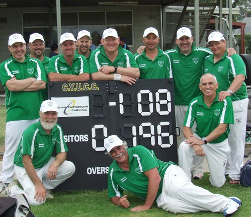 A big win on the final day of the tournament: Resplendent in our bright green shirts are L-R: Back - Daniel Phillips, Glen Courts, Sean O'Kane, Troy Eden, Simon Thornton, Dean Jukic, Adam Patchell and Mark Gauci. Front - the real old blokes get down and can't get up again: Allan Cumming, Charlie Walker and Neil King.