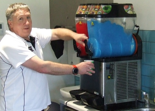 Peter Golding took charge of the slushie machine at the GF Day.