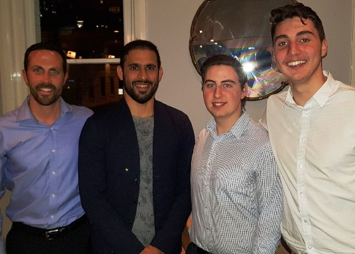 They've all proudly pulled on the whites for Moonee Valley - Test aspirant Fawad Ahmed (second from left) with L-R Michael Ozbun, Matthew Esmore and Stephen Esmore.