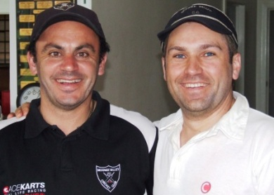 "*Close mates Mark ""Junior"" Cini (left) and Paul ""Pickle"" Nicol celebrated their 150th games together with a win."