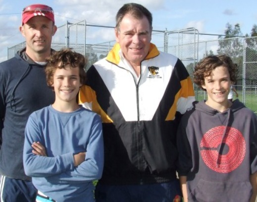 *Special tips from a special cricketer: L-R Matt Hogg with sons Archie and Charlie, with former Test bowler Jim Higgs.