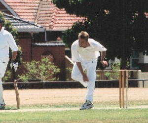Ace bowler Paul Nicol in action against St Bernards 2003/04