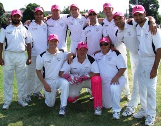 The Moonee Valley Firsts look resplendent in their pink caps to mark Pink Stumps Day. L-R: Back - Ihtisham Uddin, Nasir Ahmed, Ian Denny, Steve Nickelson, Jim Polonidis, Matt Thomas, Amit Chaudhary and Shafi Hassan. Front - Craig Pridham, Trent Milne and Mark Gauci.