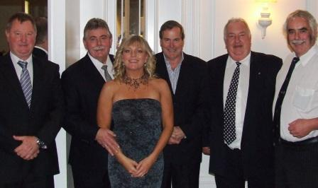 The old crew: Former journalist Charlie Walker (right) with some of the former police he reported on: L-R Barrie Hahnel, Rod Porter, Marielle Porter, Peter Harvey and Max McDonald.