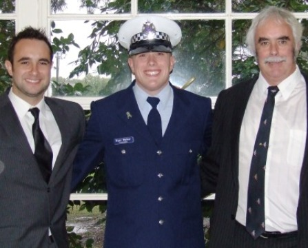 Newly-graduated Constable Nigel Walker is flanked by brother Murray and dad Charlie.