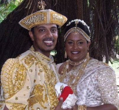 Moonee Valley's Arosha Perera and his bride Ishani