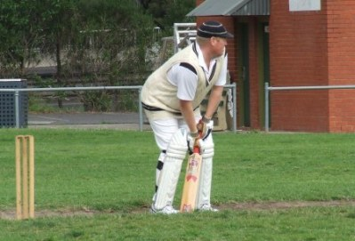 *Nothing will get through here: Darren Nagle at the crease at Ormond Park.